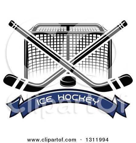 Clipart of a Black and White Hockey Goal Post with Crossed Sticks, a Puck and Blue Text Banner - Royalty Free Vector Illustration by Vector Tradition SM