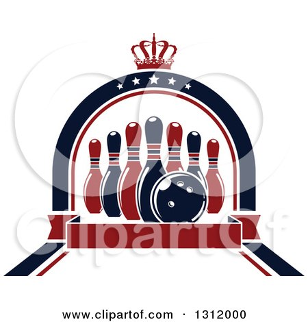 Clipart of Navy Blue and Red Bowling Pins and Ball in a Star Arch with a Crown and Blank Red Banner - Royalty Free Vector Illustration by Vector Tradition SM