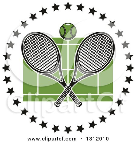 Clipart of a Tennis Ball and Crossed Rackets over a Green Court in a Circle of Black Stars - Royalty Free Vector Illustration by Vector Tradition SM