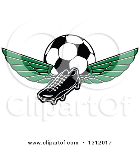 Clipart of a Black and White Soccer Cleat Shoe with Green Wings and a Ball - Royalty Free Vector Illustration by Vector Tradition SM