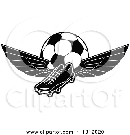 Clipart of a Black and White Soccer Cleat Shoe with Wings and a Ball - Royalty Free Vector Illustration by Vector Tradition SM