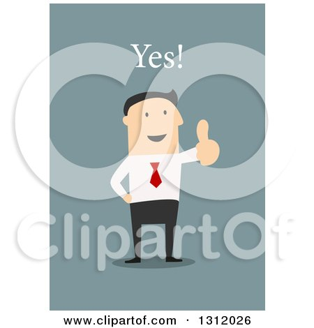 Clipart of a Flat Design White Businessman Saying Yes and Giving a Thumb Up, on Blue - Royalty Free Vector Illustration by Vector Tradition SM