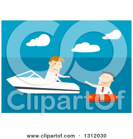 Clipart of a Flat Design White Businessman in a Boat, Rescuing Another, on Blue - Royalty Free Vector Illustration by Vector Tradition SM
