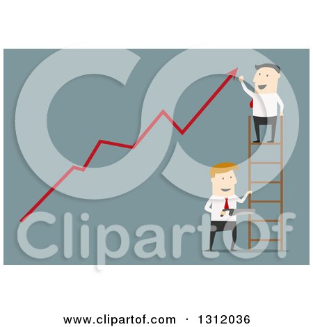 Clipart of a Flat Design White Businessman on a Ladder Cheering over a Growth Arrow While Someone Cuts the Ladder, on Blue - Royalty Free Vector Illustration by Vector Tradition SM