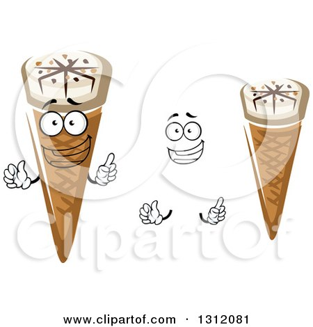 Clipart of a Cartoon Face, Hands and Waffle Ice Cream ... Cartoon Waffle With Face