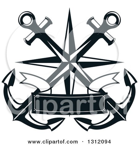 Clipart of Dark Blue Crossed Anchors with a Nautical Star and Ribbon Banner - Royalty Free Vector Illustration by Vector Tradition SM