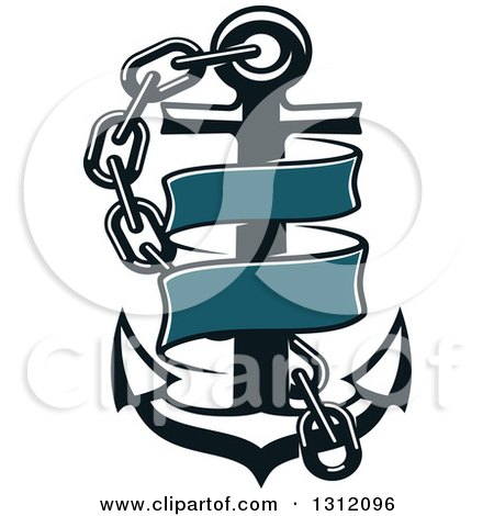 Clipart of a Dark Blue Anchor with a Chain and Ribbon Banner - Royalty Free Vector Illustration by Vector Tradition SM