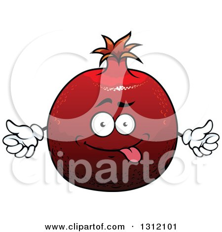 Clipart of a Cartoon Goofy Pomegranate Character - Royalty Free Vector Illustration by Vector Tradition SM