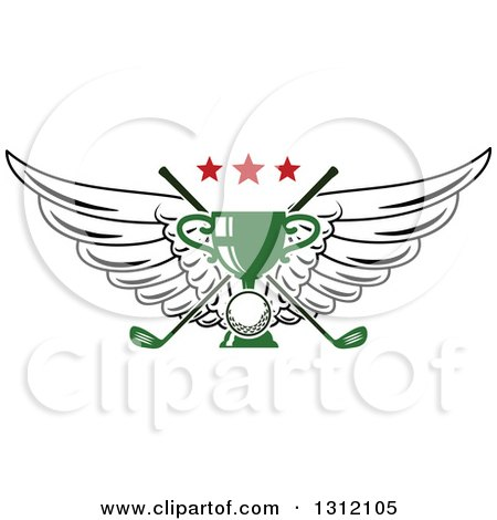 Clipart of a Golf Ball, Green Trophy and Crossed Clubs with Wings and Red Stars - Royalty Free Vector Illustration by Vector Tradition SM