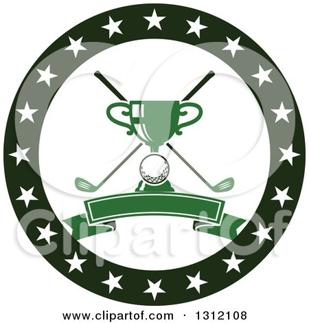 Clipart of a Golf Ball, Green Trophy and Crossed Clubs in a Circle of Stars with a Blank Banner - Royalty Free Vector Illustration by Vector Tradition SM
