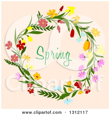 Clipart Of A Wreath Made Flowers With Spring Text On Beige 4