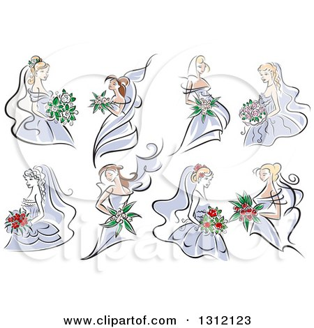 Clipart of Sketched Brides in Periwinkle Dresses - Royalty Free Vector Illustration by Vector Tradition SM