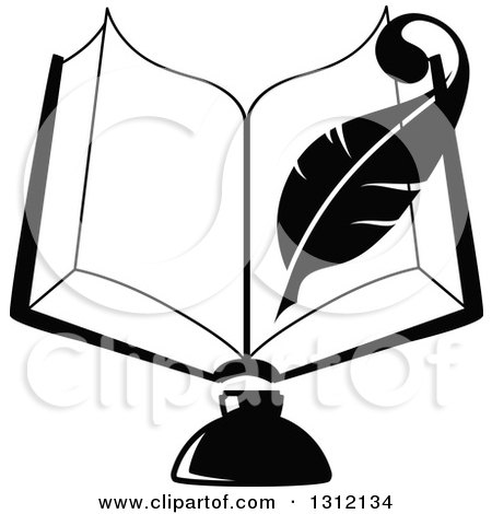 Clipart of a Black and White Feather Quill Pen Writing in an Open Book over an Ink Well - Royalty Free Vector Illustration by Vector Tradition SM