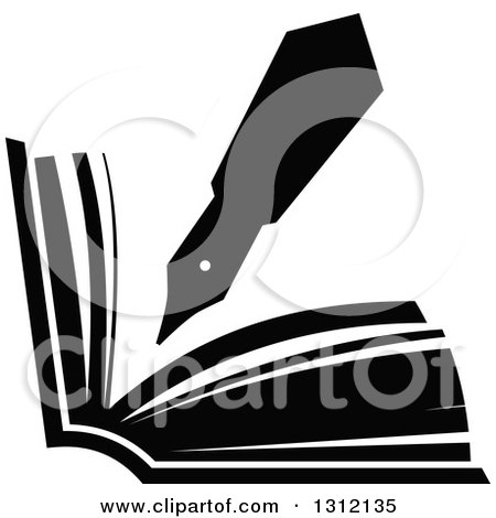 Clipart of a Black and White Fountain Pen Writing in an Open Book - Royalty Free Vector Illustration by Vector Tradition SM
