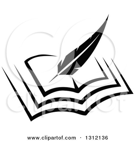 Clipart of a Black and White Feather Quill Pen Writing in an Open Book - Royalty Free Vector Illustration by Vector Tradition SM