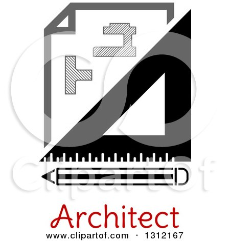 Clipart of a Building Blueprint Right Angle and Pencil over Text - Royalty Free Vector Illustration by Vector Tradition SM