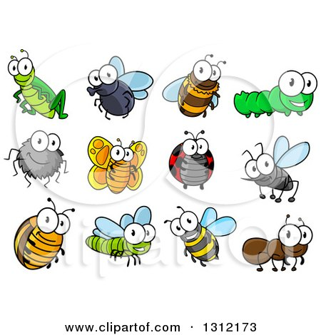 Clipart of Cute Cartoon Insects - Royalty Free Vector Illustration by Vector Tradition SM