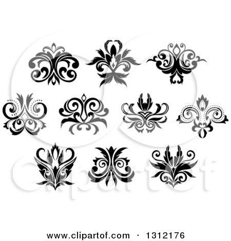 Clipart of Black and White Vintage Floral Design Elements 11 - Royalty Free Vector Illustration by Vector Tradition SM