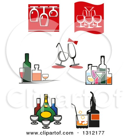 Clipart of Wine Glasses and Alcohol Bottles - Royalty Free Vector Illustration by Vector Tradition SM