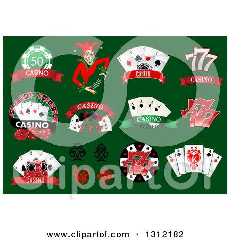 Clipart of Joker, Dice and Playing Card Casino Designs on Green - Royalty Free Vector Illustration by Vector Tradition SM
