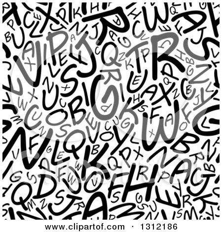 Clipart of a Seamless Background Pattern of Black and White Capital Alphabet Letters 2 - Royalty Free Vector Illustration by Vector Tradition SM