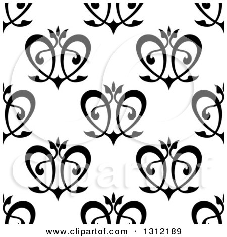 Clipart of a Seamless Background Pattern of Black Floral Hearts - Royalty Free Vector Illustration by Vector Tradition SM