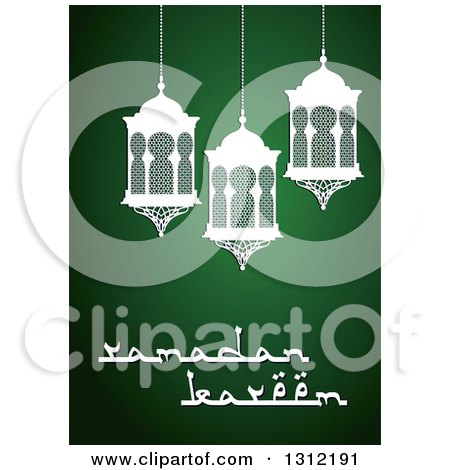 Clipart of a Ramadan Kareem Greeting with White Lanterns over Green - Royalty Free Vector Illustration by Vector Tradition SM