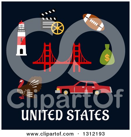 Clipart of United States Flat Cultural Icons on Blue - Royalty Free Vector Illustration by Vector Tradition SM