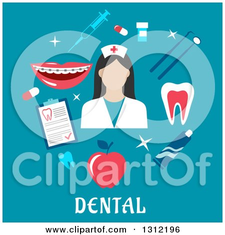 Dental Flat Design Of A Hygienist With Tools On Blue By Vector Tradition SM