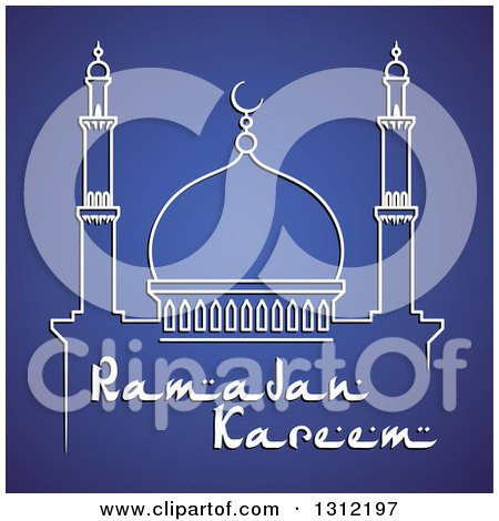 Clipart of a Mosque and Ramadan Kareem Text for Muslim Holy Month over Blue - Royalty Free Vector Illustration by Vector Tradition SM