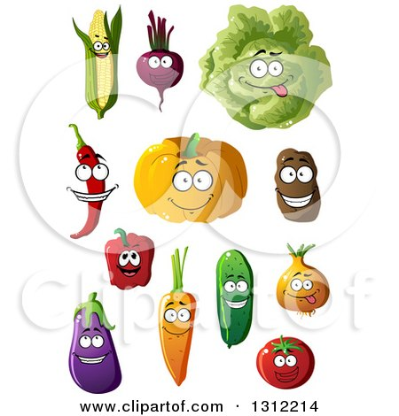 Clipart of a Corn, Beet, Cabbage, Chili, Pumpkin, Potato, Bell Pepper, Carrot, Cucumber, Onion, Eggplant and Tomato Characters - Royalty Free Vector Illustration by Vector Tradition SM