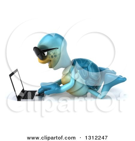 Clipart of a 3d Happy Blue Tortoise Wearing Sunglasses, Facing Left, Using a Laptop on the Floor - Royalty Free Illustration by Julos