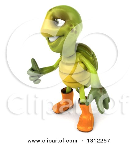 Clipart of a 3d Tortoise Turtle Gardener Facing Left and Giving a Thumb up - Royalty Free Illustration by Julos