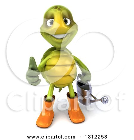 Clipart of a 3d Tortoise Turtle Gardener Holding a Watering Can and Giving a Thumb up - Royalty Free Illustration by Julos