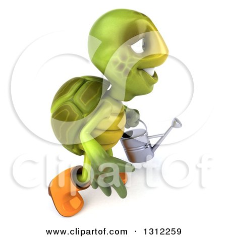 Clipart of a 3d Tortoise Turtle Gardener Holding a Watering Can and Walking to the Right - Royalty Free Illustration by Julos