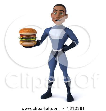 Clipart of a 3d Young Black Male Super Hero Dark Blue Suit, Holding a Double Cheeseburger - Royalty Free Illustration by Julos