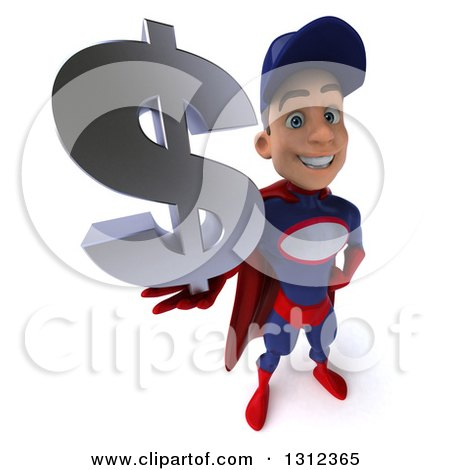 Clipart of a 3d Young White Male Super Hero Mechanic in Red and Dark Blue, Holding up a Dollar Symbol - Royalty Free Illustration by Julos