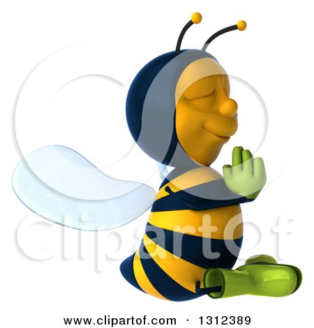Clipart of a 3d Relaxed Gardener Bee Facing Right and Meditating - Royalty Free Illustration by Julos
