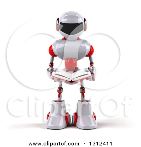 Clipart of a 3d White and Red Robot Holding an Open Book - Royalty Free Illustration by Julos