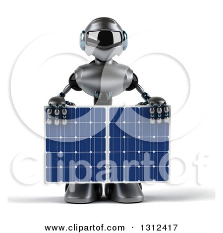 Clipart of a 3d Silver Male Techno Robot Holding a Solar Panel - Royalty Free Illustration by Julos