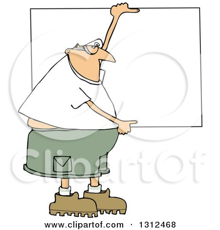 Clipart of a Cartoon Chubby White Man Wearing Safety Goggles and Holding up a Blank Sign - Royalty Free Vector Illustration by djart