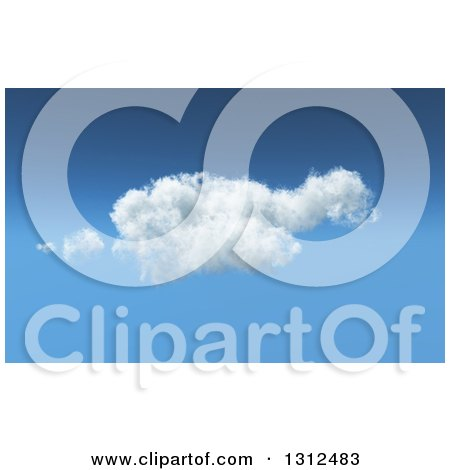 Clipart of a 3d Feathery Cloud in a Blue Sky - Royalty Free Illustration by KJ Pargeter