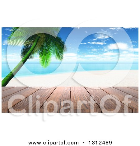 Clipart of a 3d Wood Table Top or Deck with a View of a Tropical Beach and Palm Tree on a Beautiful Day - Royalty Free Illustration by KJ Pargeter