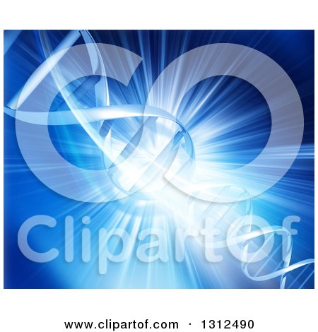 Clipart of a Blue Burst Background with a 3d Dna Strand and Lights - Royalty Free Illustration by KJ Pargeter