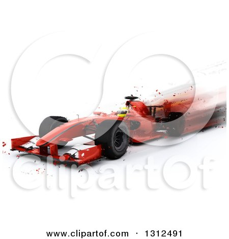 Clipart of a 3d F1 Red Race Car with Blur Effect on White - Royalty Free Illustration by KJ Pargeter