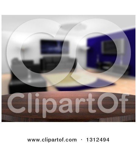 Clipart of a 3d Close up of a Wooden Table and a Blurred Modern Living Room with Black Furniture - Royalty Free Illustration by KJ Pargeter