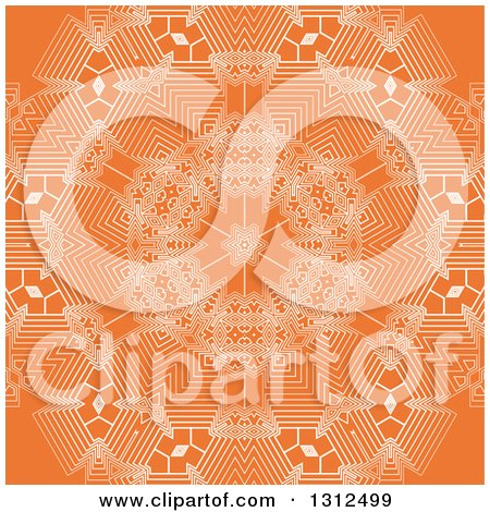 Clipart of a White and Orange Geometric Snowflake Background - Royalty Free Vector Illustration by KJ Pargeter