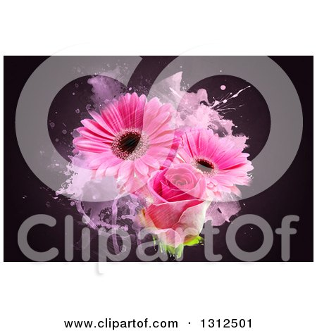 Clipart of a Pink Rose and Gerbera Daisies with Grunge on Dark - Royalty Free Illustration by KJ Pargeter
