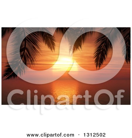 Clipart of a 3d Orange Tropical Ocean Sunset Framed by Silhouetted Palm Tree Branches - Royalty Free Vector Illustration by KJ Pargeter