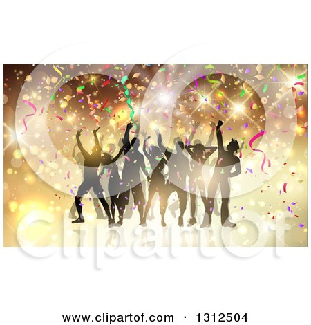 Clipart of a Group of Silhouetted Dancers in a Party Crowd, with Flares and Confetti - Royalty Free Vector Illustration by KJ Pargeter